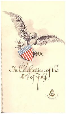 HAMBURG AMERICA LINE PATRIOTIC MENU JULY 4th 1912 SS KAISERIN AUGUSTE VICTORIA
