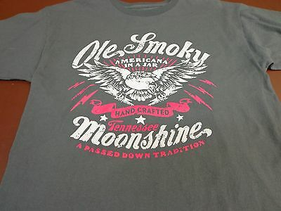 Ole Smoky Moonshine Hand Crafted  Gatlinburg Tn Gray T Shirt Adult Medium  S4