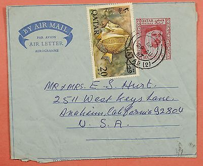 1967 Qatar Fish Uprated Aerogramme Stationery Cover To Usa