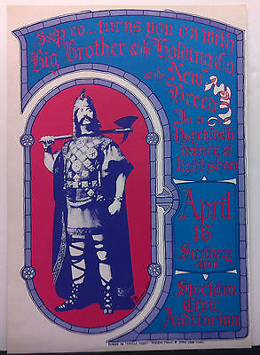 BIG BROTHER & THE HOLDING CO. AOR 3.22 Stockton Civic 1967 Concert Poster JOPLIN