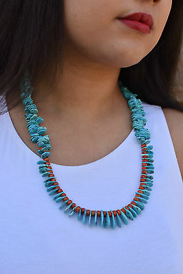 Navajo Kingman Turquoise with Apple Coral Necklace by Isabelle John