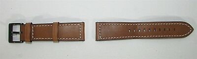 Unbranded/Generic - 22mm Leather Watch Strap - Brown Band with Black Buckle