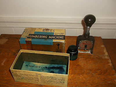 Bates standard movement numbering machine 6 wheels A style with ink bottle vint