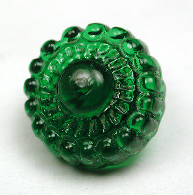 """Antique Charmstring Glass Button Green Candy Mold w/  Swirl Back 1/2"""""""
