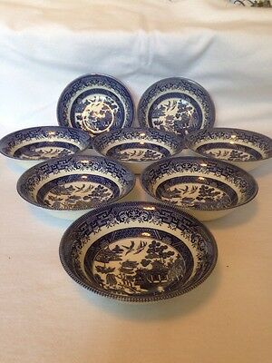 Churchill Blue Willow Pattern 6 Inch Cereal Bowls. Set Of 8. Fantastic Condition