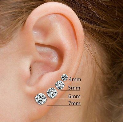 0.50 ct Round cut Stud Earrings 14K Gold over 925 Sterling Silver push back