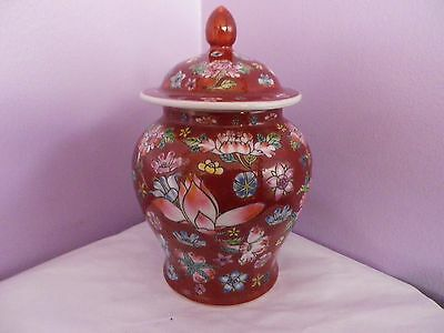 Fab Vintage Chinese Porcelain Brown Flowers Des Temple Ginger Jar 17.5 Cms Tall