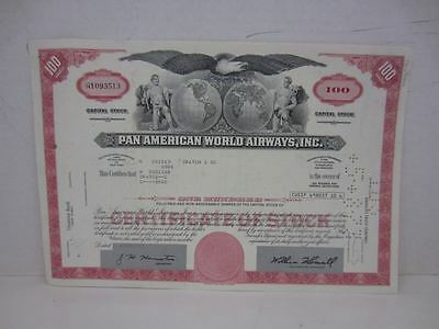 Vintage PAN AMERICAN WORLD AIRWAYS, INC. Capital Stock Certificate 100 Shares