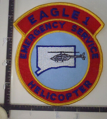 Eagle 1 Emergency Service Helicopter CT Police Patch CONNECTICUT AERO