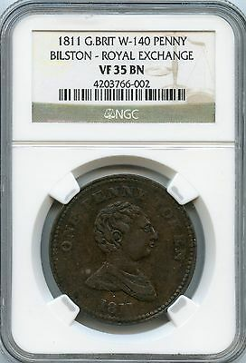 Amazing 1811 NGC VF35 BN Great Britain W-140 Penny Bilston-Royal Exchange NC902