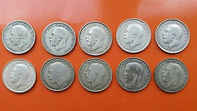Ten King George V Florin coins 1913 to 1932