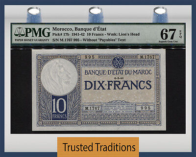 TT PK 17b 1941-42 MOROCCO 10 FRANCS PMG 67 EPQ SUPERB GEM POP TWO FINEST KNOWN