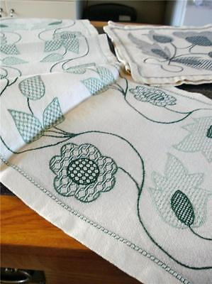 Two Unusual Vintage Jacobean Style Hand Embroidered Runners, One Blue, One Green