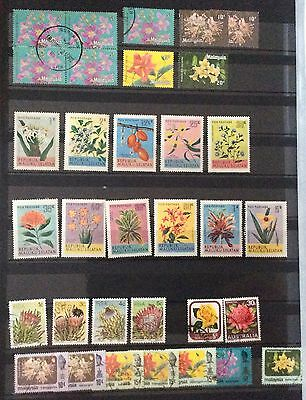 Malaysia, Malaysian States, Large used collection Flowers. 6 Pages