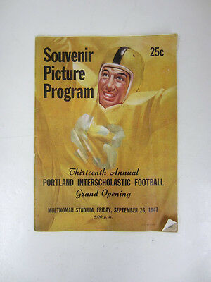 Vintage 1947 PORTLAND INTERSCHOLASTIC FOOTBALL Souvenir Picture Program