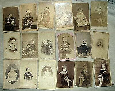 Vintage 1800's Victorian Cabinet Card Photo Little Girl Lot of 18 Pictures #A