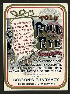 VINTAGE Tolu Rock and Rye Cure For Consumption ~ Bottle LABEL San Francisco Ca