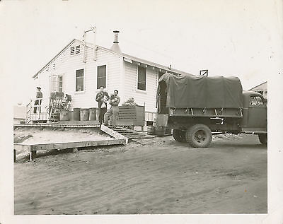 1940s WWII US Army Base Ca Photo unloading food truck