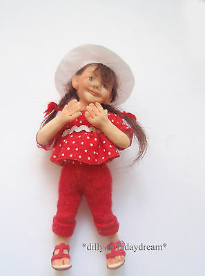 Miniature Handmade poseable Little GIRL Ooak Doll House doll by Sally Freeman