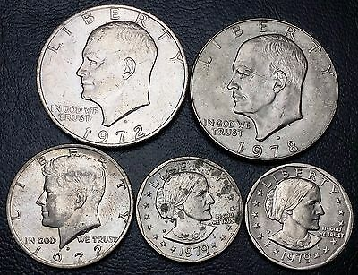 Lot of 5 U.S. Dollar and Half Dollar Coins - Great Condition - Free Combined S/H