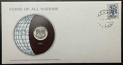 Coins of all Nations Series - 1979 Syria 50 Piastres - Coin & Stamp Set - BU
