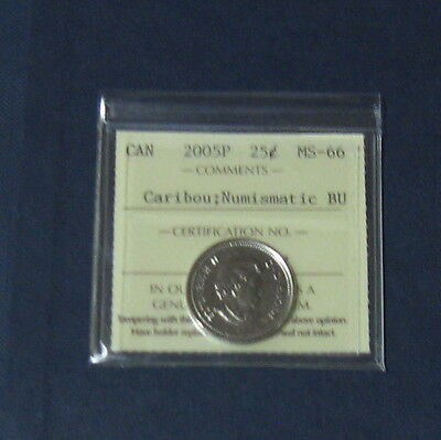 Iccs Graded 2005 P Ms-66 Canadian Quarter 25 Cents Canada Very Nice Coin Bu