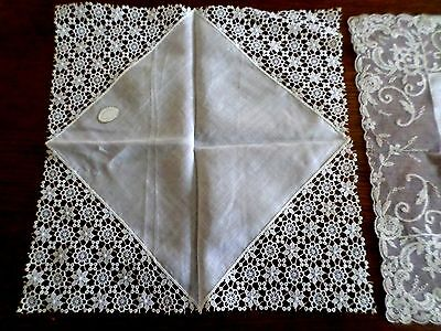"Beautiful Antique lace Trimmed Wedding Handkerchief ~ 12"" By 12""~ Austria"