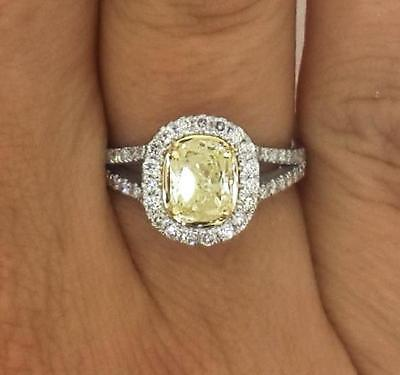 2.00 Ct Oval Cut  Fancy Yellow Diamond Engagement Ring 14K White Gold 4390