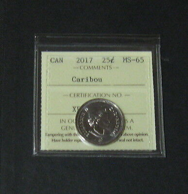 Iccs Graded 2017 Ms-65 Canadian Quarter 25 Cents Caribou Very Nice Coin