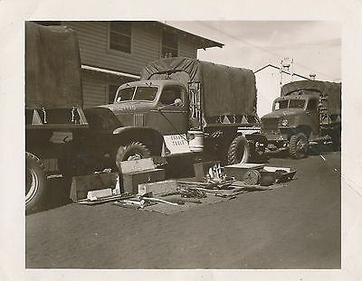 1940s WWII US Army Base Ca 2 Photos Squad Truck display & tent display