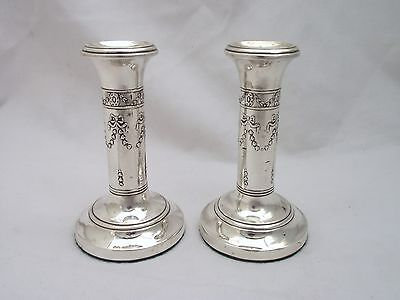 Pair Of Sterling Silver Candlesticks Birmingham 1911 - Henry Mathews Adams Style