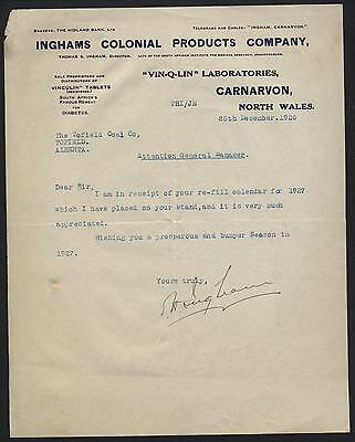WALES Letterhead. Inghams Colonial Products, Wales 1926