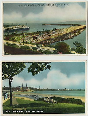 Dun Laoghaire From Sandycove+Dun Laoghaire Harbour Showing Howth Head 2 Postcard