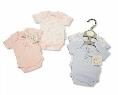 BNWT Tiny baby Premature Preemie Teddy twin pack bodysuit vest in  pink or blue