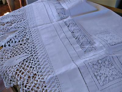 Absolutely Magnificent Antique Linen Tablecloth, Ornate Hand Crochet/threadwork