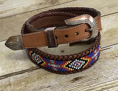 Eddie Bauer Southwest Western Beaded Belt Brown Woven Leather Silver Buckle 32