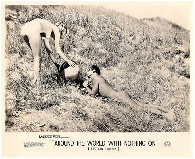 Around the World with Nothing On 1961 lobby card nudist movie couple on beach