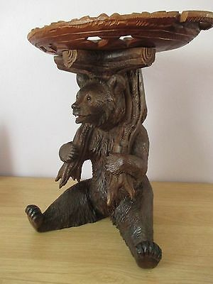 "Antique 13"" Quality Black Forest Sitting Bear Centrepiece Wood Carving Swiss"