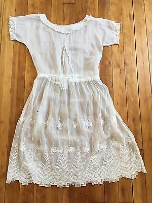 Antique Edwardian sheer white cotton dress with eyelet, embroidery, and lace