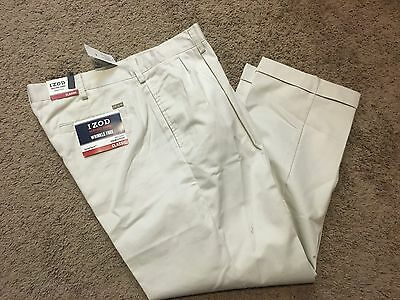NWT IZOD Heritage Chino Classic-Fit Wrinkle-Free Double Pleated Pants 33X32