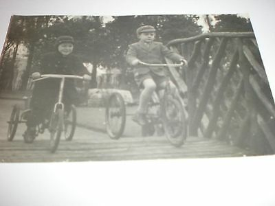 Old Postcard RPPC two boys tricycles c1956
