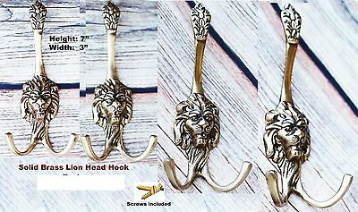 Lion Head Solid Brass Home Bathroom Hat Coat Towel Wall Hanger Hook Unique 6762