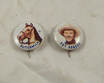 1953 Roy Rogers Post's Grape Nuts Flakes Litho  Pin + Dales Horse Buttermilk Vg+