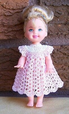 "Kelly 4 1/2"" Doll White & Baby Pink Dress Crocheted New"