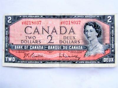 1954 Canadian Two Dollar Bill - Bank of Canada