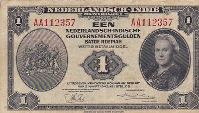 1943 Netherlands Indies 1 Guden Note, Pick 111a