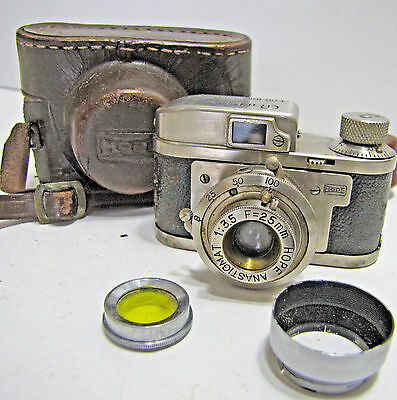 Vintage Rubix 16 Subminiature Spy Film Camera +Filter & Lens Hood