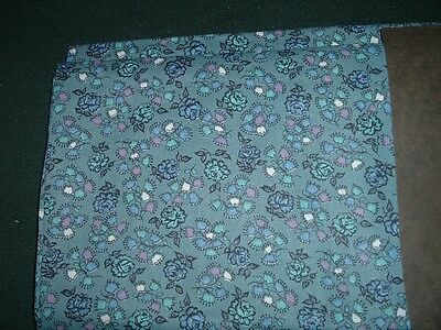 Vtg 50s Small Blue Teal Roses Feedsack Style Doll Quilt Fabric 50x35 RARE#ff39