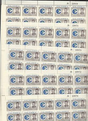 oldhal-Colombia-Lot of 5 complete Kennedy Sheets of Stamps-1963-4