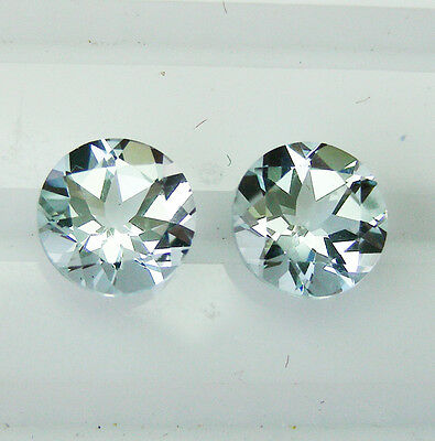 AQUAMARINE 2.33ct! MATCHING PAIR -EXPERTLY FACETED IN GERMANY +CERT AVAILABLE